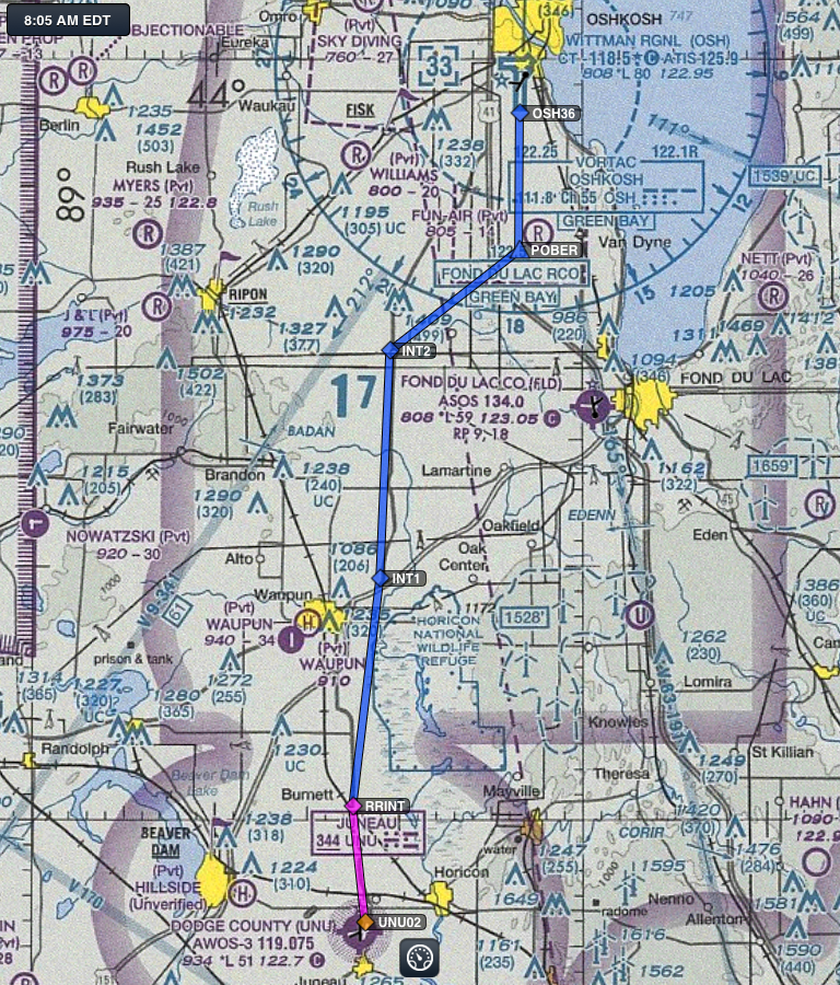 Cessnas 2 Oshkosh Mass Arrival Flight Route